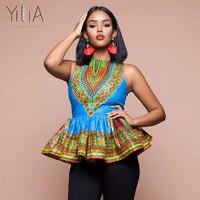 Yilia Blouse Shirt Summer Women 2018 Fashion African Print Sleeveless Ruffles Tank Tops Shirts For Blacks