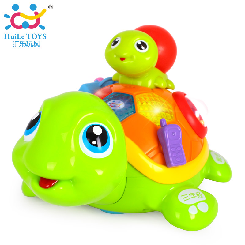 HUILE TOYS 868 Parent and Children Turtle with Music/Light/Sound Control/Touching Sensor/Electric Learning Educational Toys