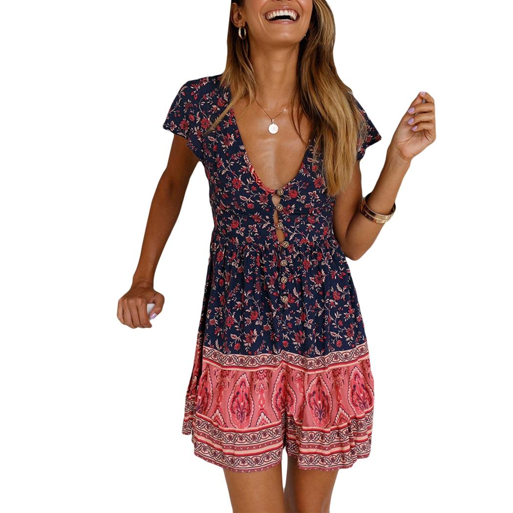 Женское летнее платье с цветочным принтом на шнуровке, Повседневное платье с v-образным вырезом, сексуальное богемное платье на бретельках, ...