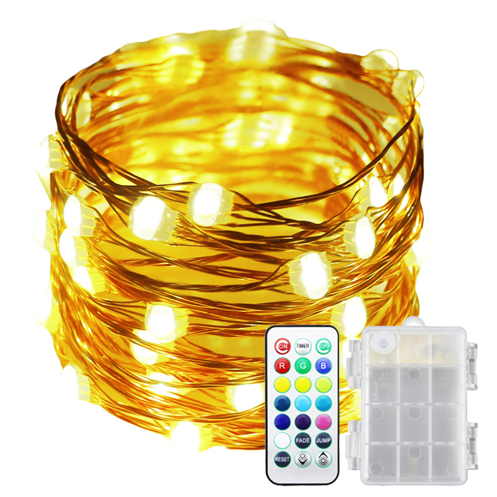 13 Colors Battery Operated Led String Lights 50leds Multi