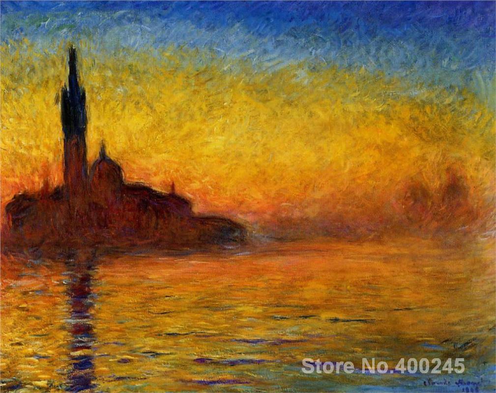 92eb84078ee1e5 Canvas schilderijen Twilight Venetië Claude Monet reproductie Hoge  kwaliteit handgeschilderde