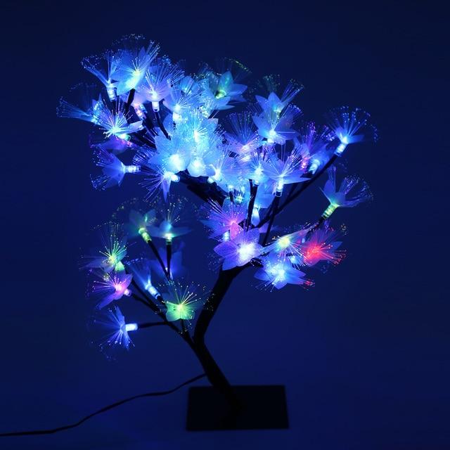 2 w slow flash led kleurrijke glasvezel bloesem boom licht kerstverlichting indoor decor lamp met 56