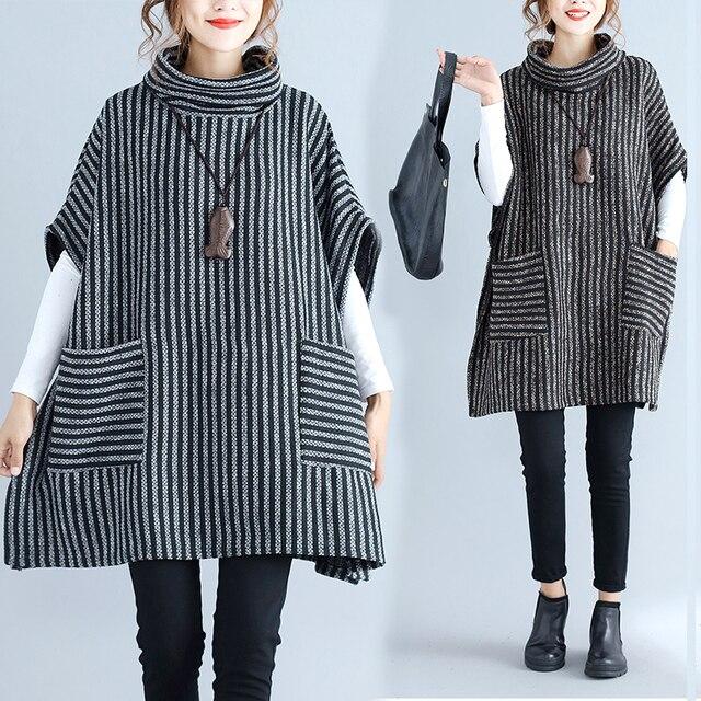 ac883e992cf063 Plus Size 4XL 2018 Autumn Winter Women Fashion Striped Turtleneck Batwing  Tops Ladies Female Big Loose Thick Blouse Shirt Blusas