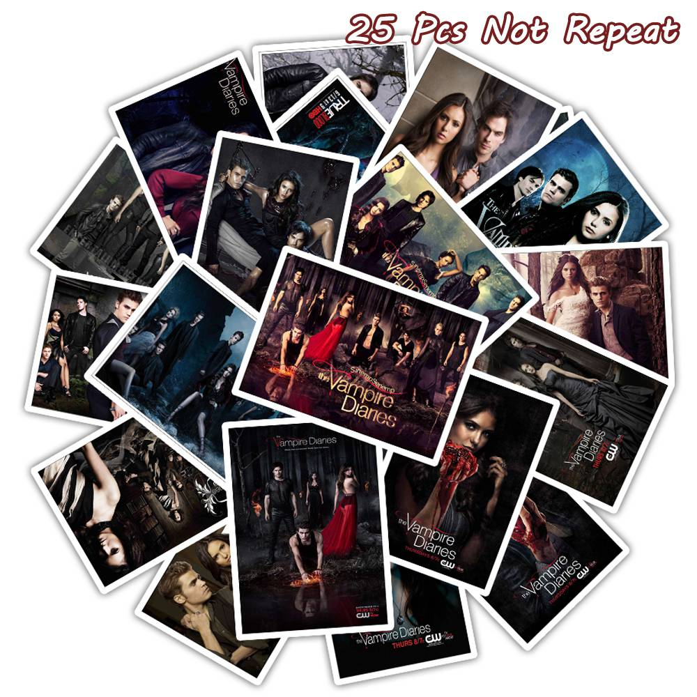 25PCS The Vampire Diaries Movie Stickers For Laptop Luggage Bicycle font b Phone b font Guitar