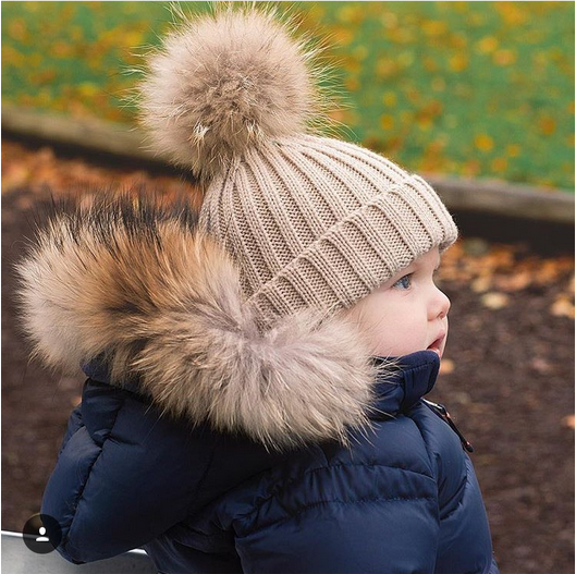 Kids Winter Real Natural Raccoon Fur Collar & Barn Scarf Fashion Coat - Kläder tillbehör - Foto 1