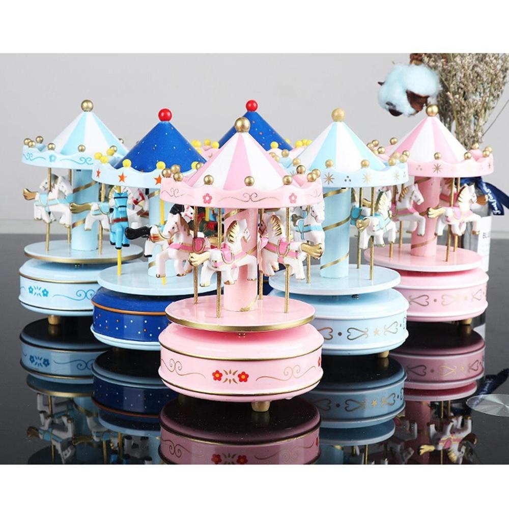 Cajas de música con tiovivo geométricas para decoración de habitación de bebé regalos Unisex de madera Navidad caballo caja del carrusel decoración para el hogar 1 pieza