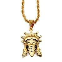 Mode Charme Männer Anhänger Halsketten 75 cm Lange Kette Füllstücke Hip Hop Männer Gold Schmuck Halskette Freiheitsstatue