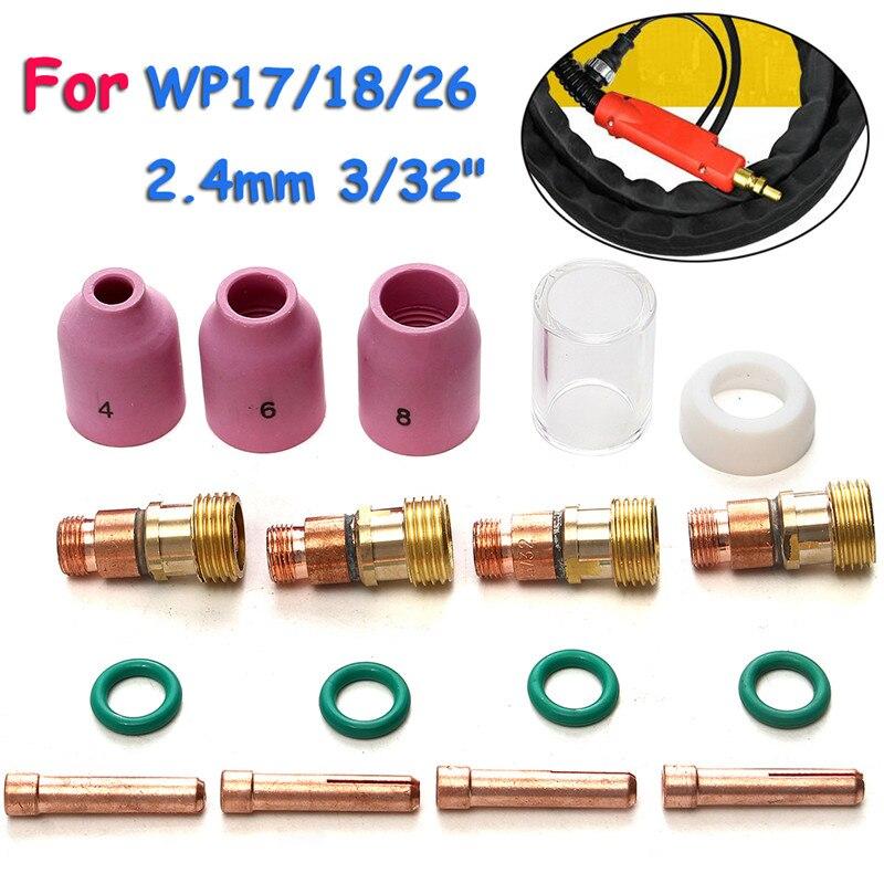 17 pcs TIG Stubby Gas Lens Ceramic nozzle & Pyrex Cup Kit WP17/18/26 2.4mm 3/32 New Arrival fatmax stubby