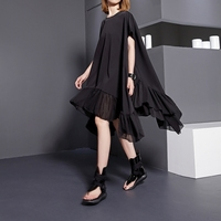 EAM 2017 New Summer Autumn Round Neck Short Sleeve Solid Color Black Split Joint Loose