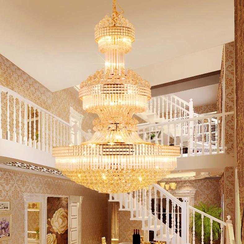 Lustre en cristal moderne Long lustres en or luminaire blanc chaud neutre blanc froid blanc 3 couleurs Dimmable lampes LED - 5