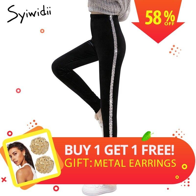 High Waist Push Up Sequin   Leggings   Side Striped Black Trousers Women Winter Velour Velvet   Leggings   2018 Mujer Skinny Pants