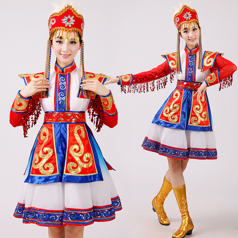Mongolian dancers women's red chopsticks dance costumes Mongolian Bowl stage performance Chinese minority dancing clothing