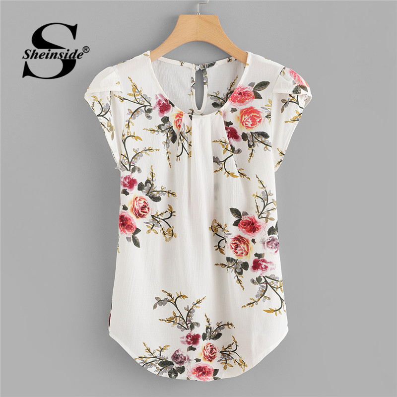 Sheinside Beige Cap Sleeve Casual Tops Office Ladies Round Neck Regular Fit Floral Asymmetrical 2018 Elegant Women Summer Blouse