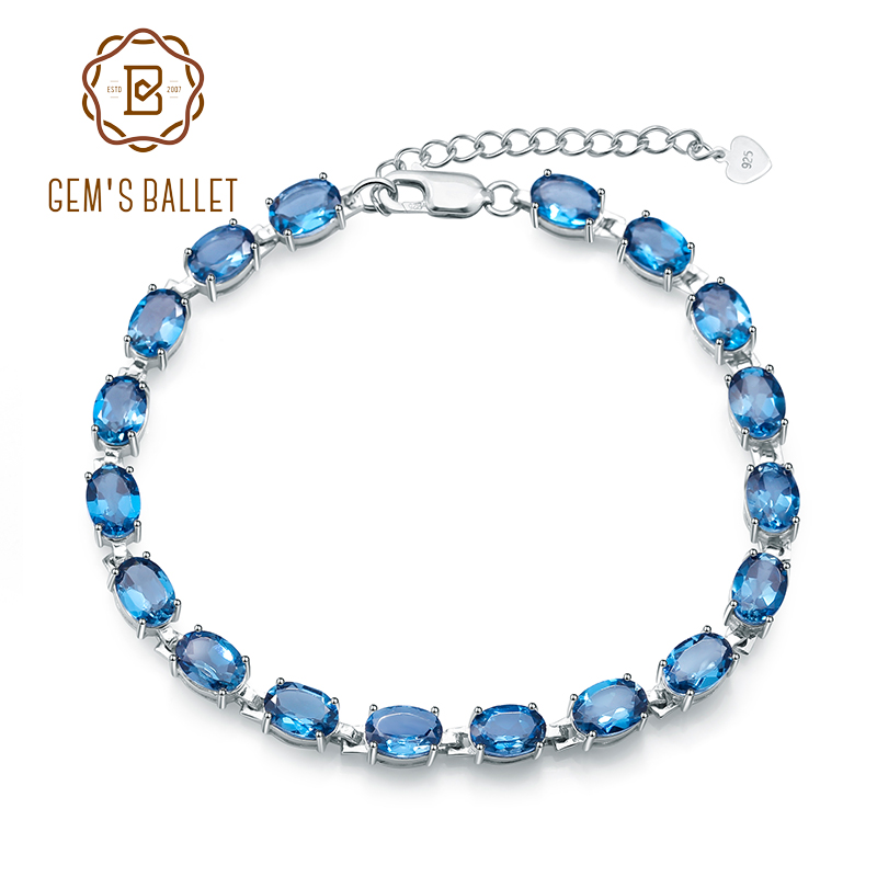 Gem s Ballet 925 Sterling Silver Bracelet 19Ct Natural London Blue Topaz Gemstone Bracelets Bangles For