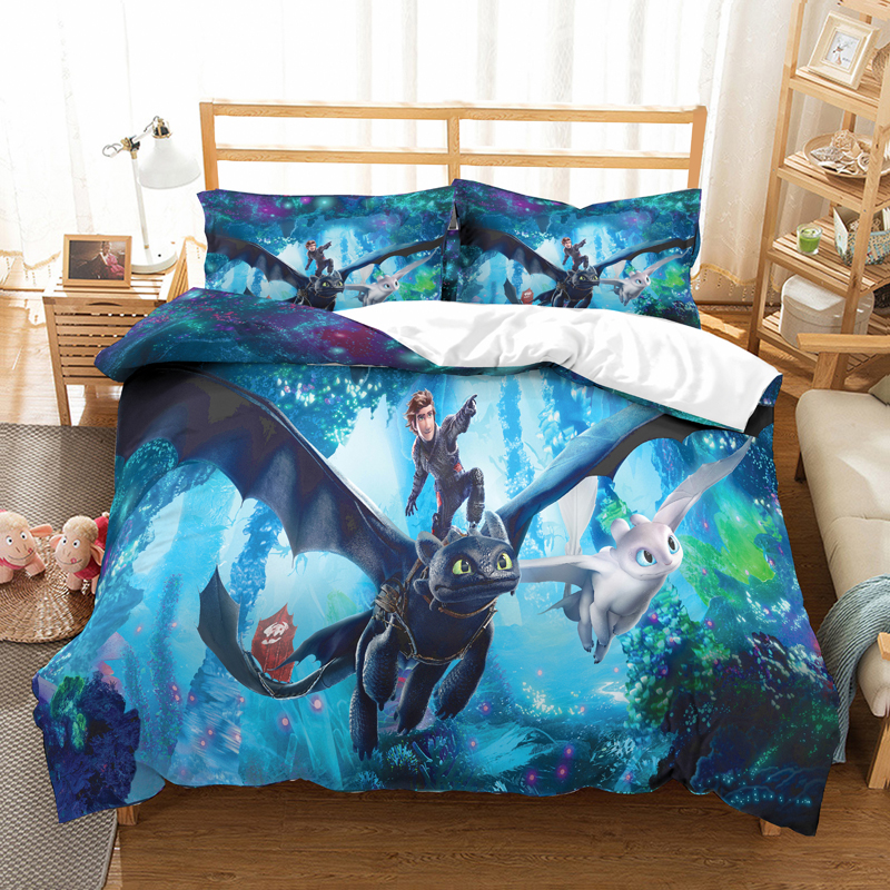 How To Train Your Dra 3D Bedding Set Children Room Decor Duvet Covers Pillowcases  Toothless Hiccup Comforter Bedding Sets