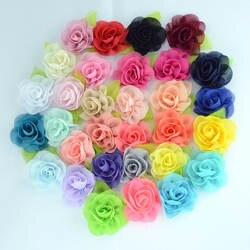 Nishine 50 шт./лот лист шифон цветы розетка розы дети девушки, принадлежности для волос Искусственные цветы букет Декор