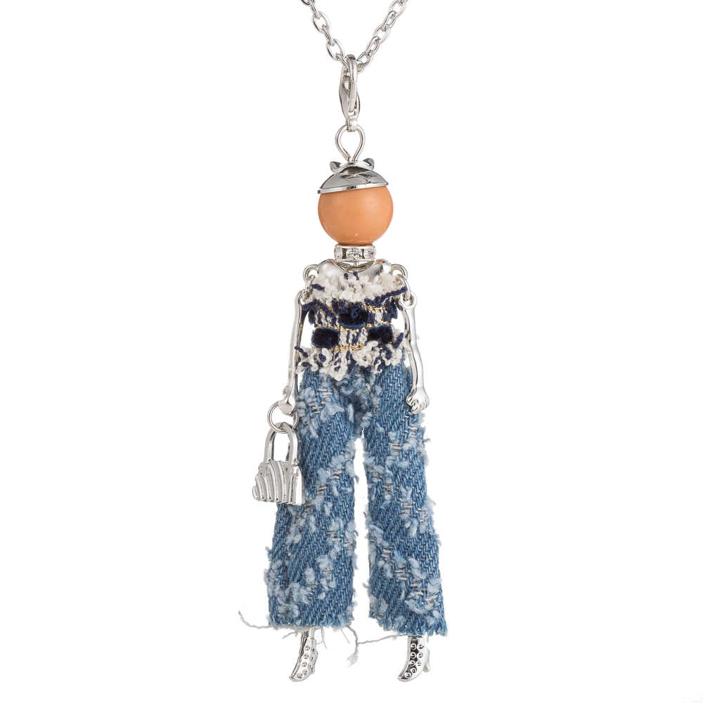 2017 Trendy Ripped jeans doll Necklace Dress Long Chain Charms Necklace Statement Big Pendants Necklaces Fashion Jewelry