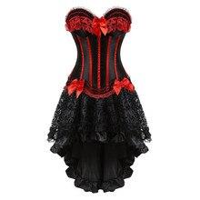מחוכי שמלה עם חצאית סדיר סט בורלסק תלבושות בציר פסים תחרה עד מחוך bustier טנק נשים קוספליי בתוספת גודל