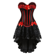 Korsetts kleid mit rock unregelmäßigen set burlesque kostüme vintage gestreifte lace up korsett bustier tank frauen cosplay plus größe
