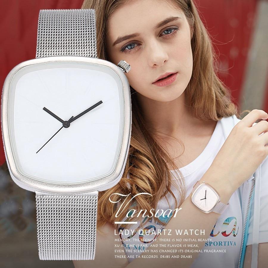 Hot Vansvar Fashion Silver Mesh Band Simple Pebble Wrist Watch Casual Male Female Clock Women Lady Dress Watch Drop Shipping