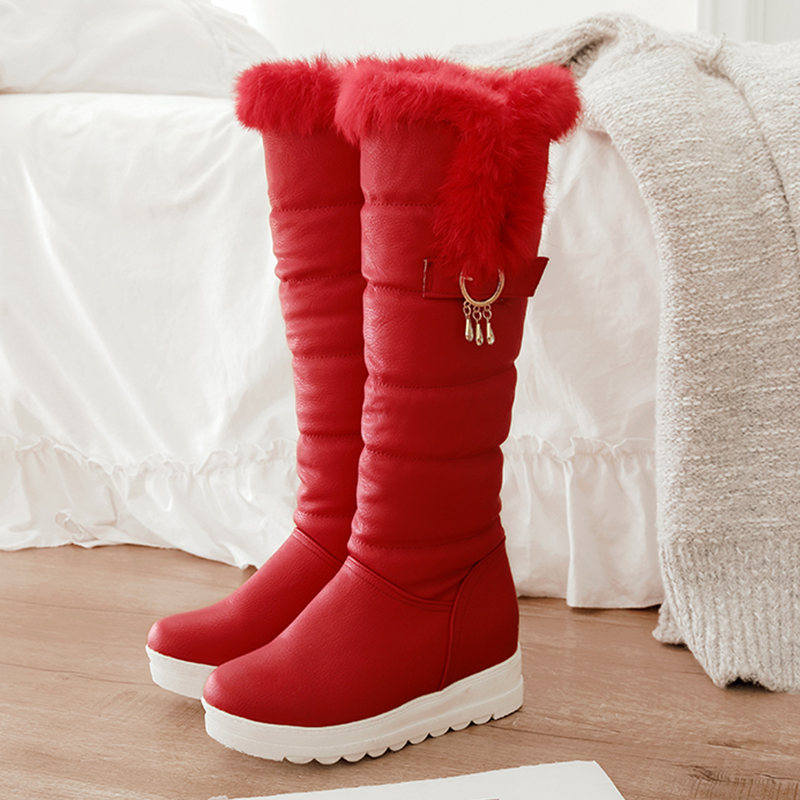 S Romance Snow Boots 2018 Size 34 43 Women Boots Heels Female Round Toe Office Lady