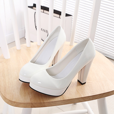 High Heels Shoes Women White Wedding Shoes Thick High Heels Fashion Party Pumps  Footwear Yellow Red d45e65618ae8
