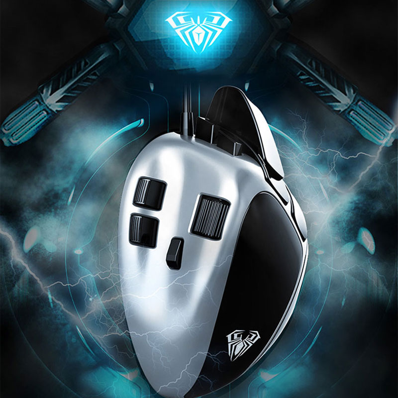 AULA Macro Gaming Mouse Backlit Ergonomics Design USB Wired 4000DPI 7 Colors Led PC Mouse Gamer Professional  Mouse For Computer