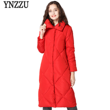YNZZU Brand New Winter Womens Down Jacket 2018 Elegant Long 90% White Duck Coat Fluffy Red Christmas Female YO671