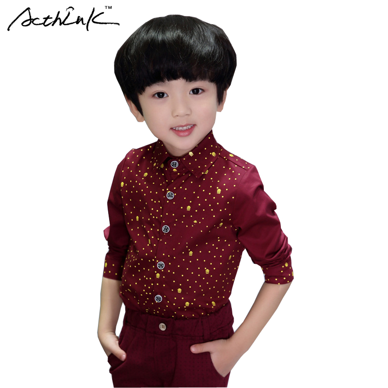 ActhInK 2017 New Boys Polka Dot Spring Dess Shirts Kids Autumn Wedding Outwear Shirts for Boys Kids Fashion Cool Shirts,AC042