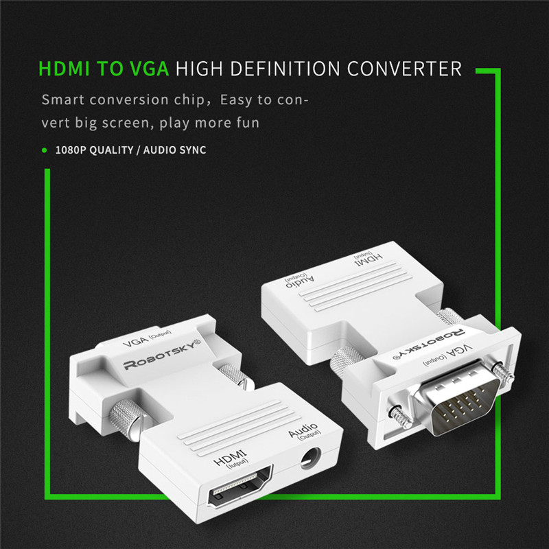 Robotsky 1080P HDMI to VGA Adapter Digital To Analog Audio Video Converter Cable for PC Laptop Robotsky 1080P HDMI to VGA Adapter Digital To Analog Audio Video Converter Cable for PC Laptop TV Box Projector