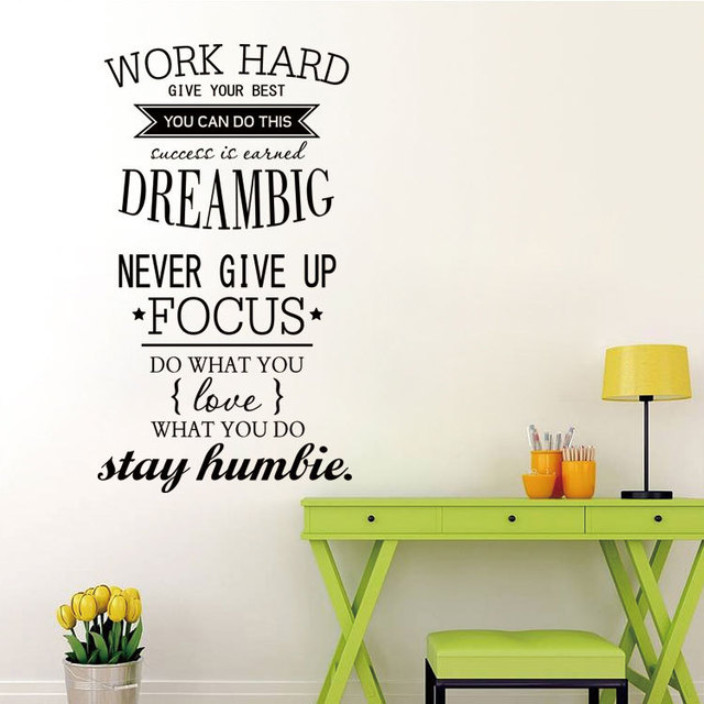 Wall Decorations For Office clocks Free Shipping Motivation Wall Decals Office Room Decor Never Give Up Dream Big Inspirational Quote Wall
