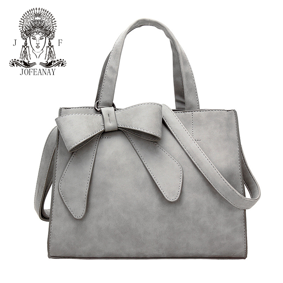 цены jofeanay2017 new ladies bowknot bag Scrub leather shoulder bag Fashion gray bag