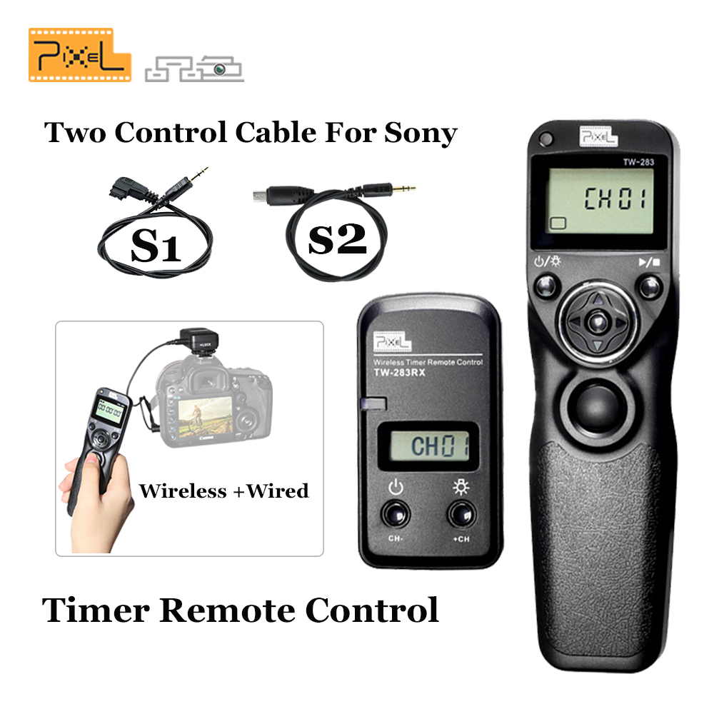 PIXEL TW-283 TW283 LCD Wireless Shutter Release Timer Remote Control S1+S2 Cable For Sony Camera VS RW-221 TW-836 Shoot Shutter wired shutter release camera remote control cable for iphone 5 ipad 4 black white 100 cm