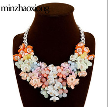 European American Fashion Pop Statement Necklace Color Flowers Exaggerated Women Jewelry Holiday Travel Summer Gift