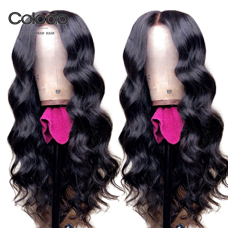 COLODO Brazilian Loose Deep Wave Wig With Pre Plucked Bleached Knots Remy Hair Glueless Full Lace