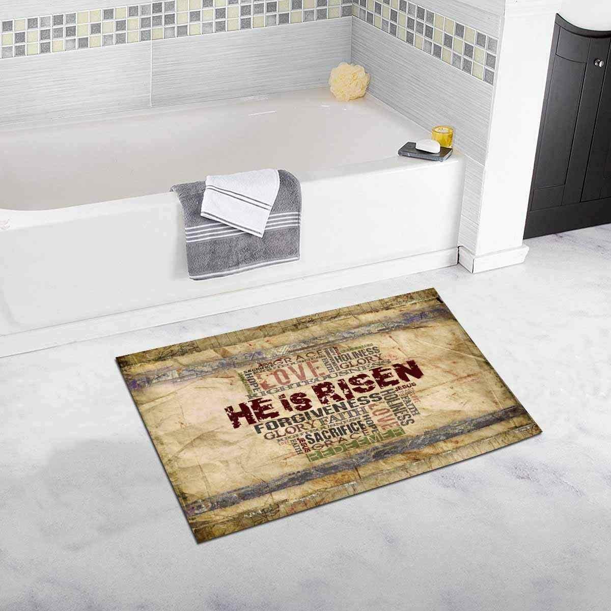 Floor Mats Easter He Is Risen With Religious Bible Verse Kitchen Rug For Indoor Bathroom Bedroom Living Room Doormat Home Decor
