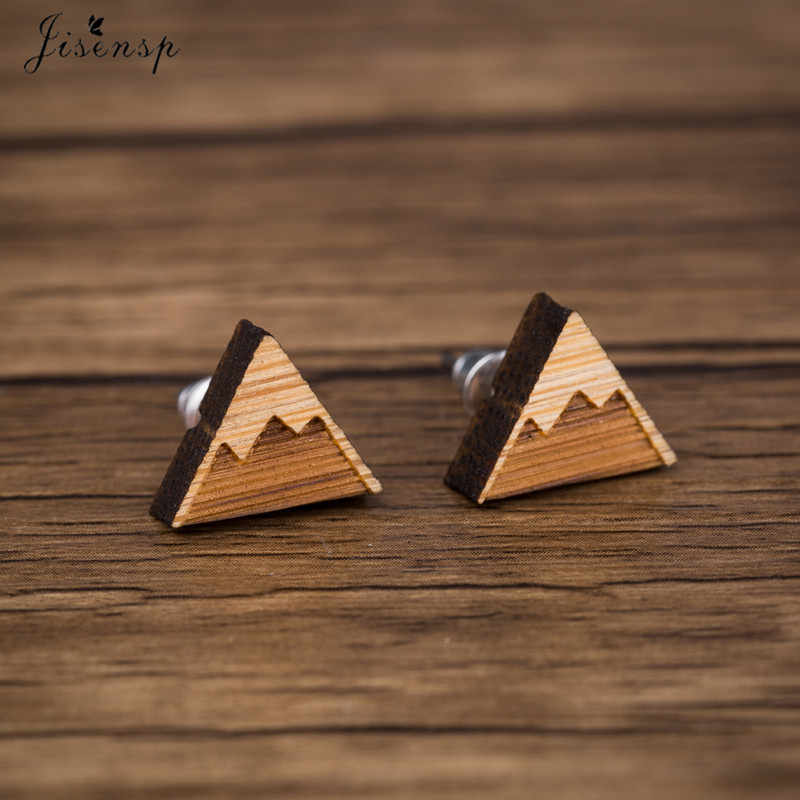 Jisensp Simple Geometry Triangle Stud Earrings for Women Fashion Jewelry Wooden Accessories Snow Mountain Earrings Gift brincos