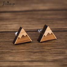 Jisensp geometría Simple triángulo Stud pendientes para las mujeres joyería de moda accesorios de madera de montaña con nieve pendientes regalo brincos