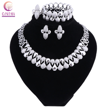 Fashion Wedding Dubai Africa Nigeria African Jewelry Set Silver-color Necklace EarringsRomantic Woman Bridal Jewelry Sets 2018 nigerian wedding african beads jewelry set brand woman fashion dubai gold color jewelry set nigerian wedding bridal bijoux