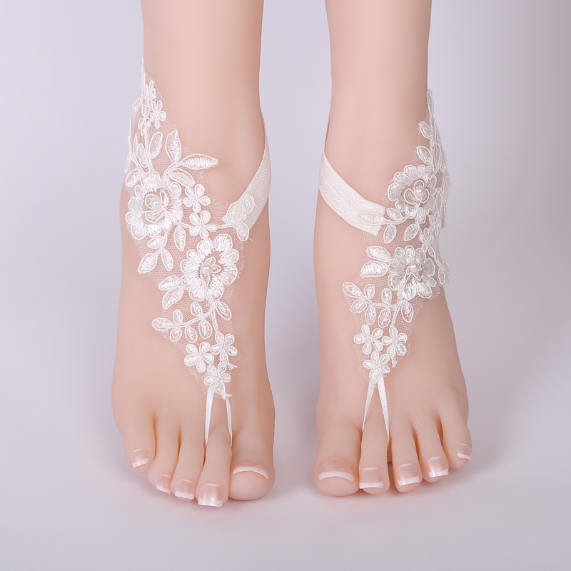 fbe3253df62 Sexy Wedding Lace Barefoot Sandals Beach Wedding Anklet white Sexy Jewelry  Wedding Shoes 2018
