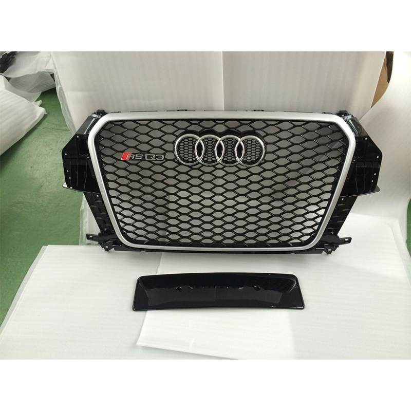 2013 2015 RSQ3 Style Silver Frame Chrome Emblem black Front Bumper mesh Grill Grille For audi