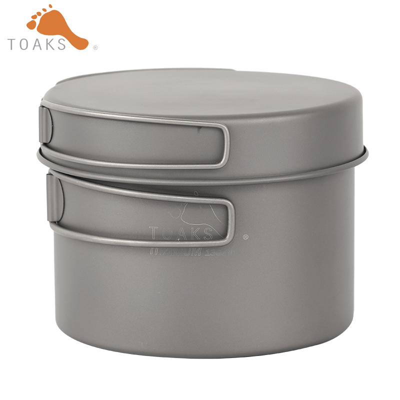 Toaks 1300ML Titanium Pot and Fry Set With Foldable Handle Outdoor Camping cookware CKW-1300