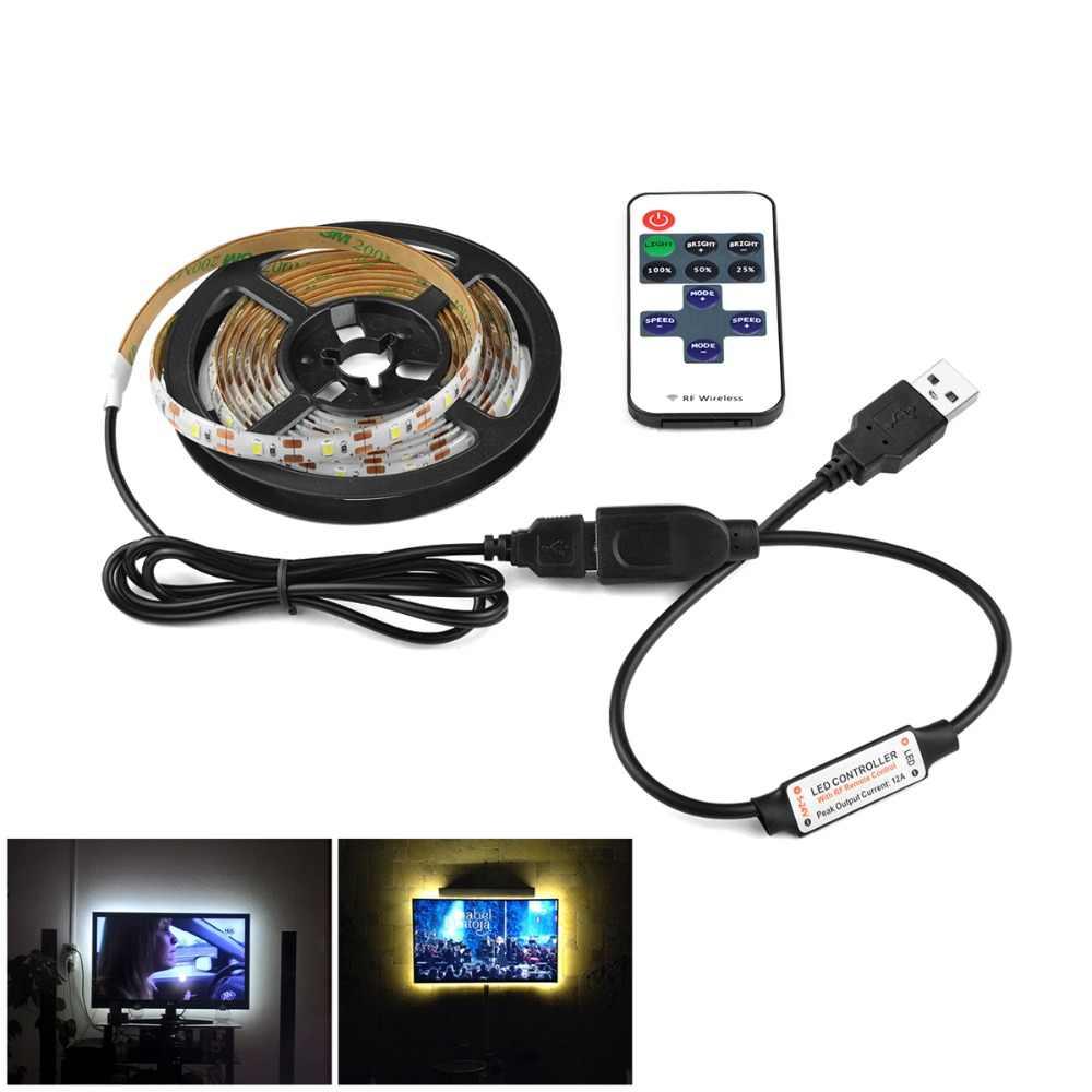 Adaptador de UE cinta de tira de LED atenuador de diodo emisor de luz lámpara de tira de luz LED USB con iluminación de cocina remota TV luz de cinta
