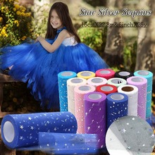 15cm*22m Tulle Roll Star& Moon Glitter Sequin Tutu Skirt Fabric Wedding Decoration Sewing Mesh DIY Accessories