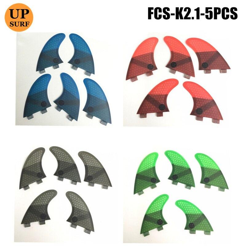 FCS K2.1 fcs ailerons en fibre de verre 5 po par set tri-quad ailerons de planche de surf 4 couleurs vert/bleu/rouge/gris logo upsurf