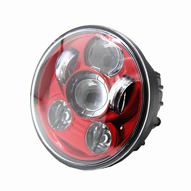 """For Harley Sportster XL 883 1200 Dyna 5 3/4"""" LED Projection moto Headlight Red Chrome Black daymaker headlight - title="""