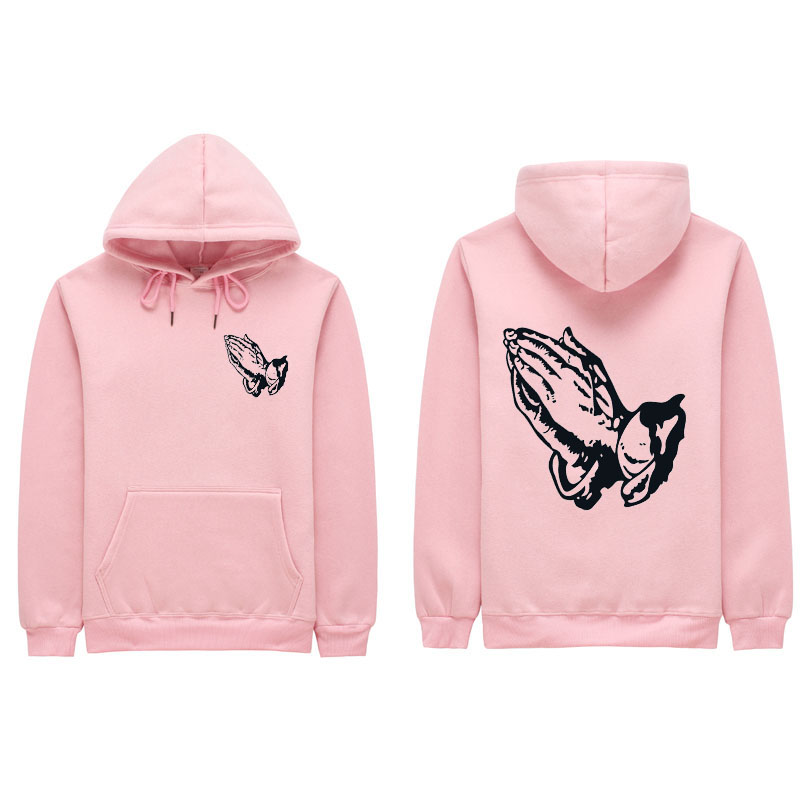 New Good quality both hands pray hoodies poleron hombre Casual Streetwear sweatshirt pullover men women hoodie sweat homme S-2XL
