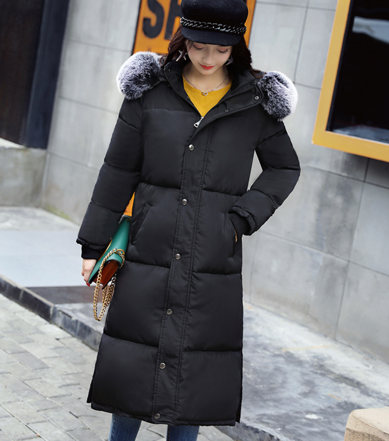 2017 Winter big yard Long Parka Padding Polyester artificial Fur collar jackets casual warm Cotton Coat Women with hood new style women white down jacket with hood slim long parka padding polyester fashion long jackets with belt cotton coat women