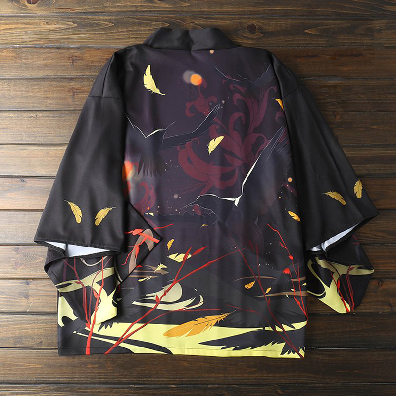 Men Autumn Printing Shirt Mens Dress Shirts Harajuku Streetwear Kimono Traditional Women Cosplay Clothes Traditional Japanese