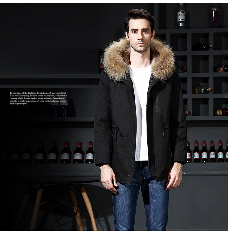 13  2018 new winter men's jacket high quality fur collar coats windproof warm jackets man casual coat clothing